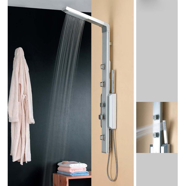 Shower Panel Aluminium with Thermostatic control and massage jets from Sanlingo – Bild 2