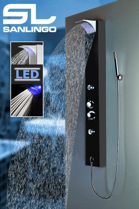 LED Colonna Doccia in Alluminio Termostato Cascata Massaggio Nero Sanlingo – Bild 2
