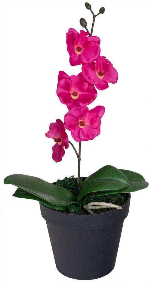 Künstliche Orchidee Kunstpflanze Topfpflanze Pflanze Rosa Pink Topf 35 cm Decovego