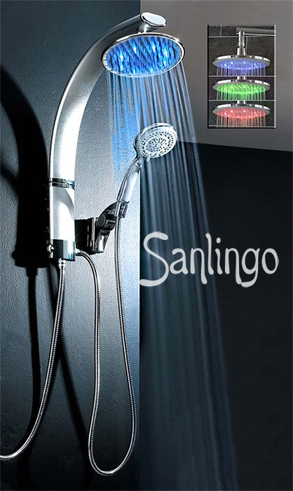 LED Aluminum shower panel with rain shower head from Sanlingo – Bild 2