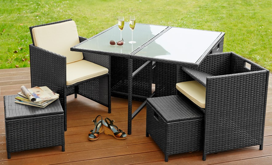 Lieblich Poly Rattan Sitzgruppe Sitzgarnitur Gartenmöbel Garten 4 Sessel 4 Hocker  Tisch Schwarz Lagento