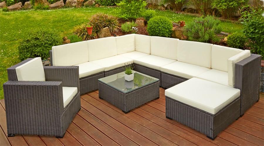 Paket Poly Rattan Sitzgruppe Sitzgarnitur Gartenmöbel Lounge Sofa
