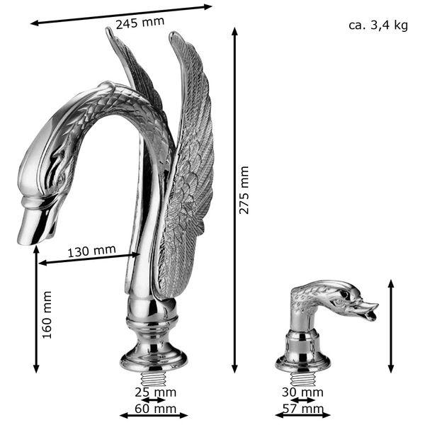Retro Romantic Bathroom 3 Hole Wash Basin Bathtub Swan Water Tap Mixer Gold – Bild 3