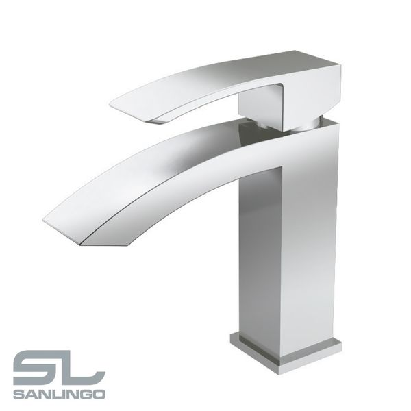 Modern Bathroom Mixer Water Tap Single Lever Chrome Wash Basin Sanlingo – Bild 1