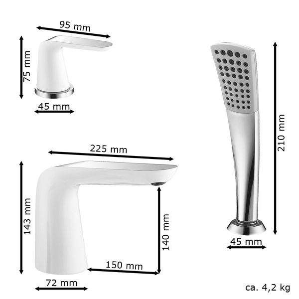Modern 5 Hole Bathtub Water Tap Mixer Hand Shower White Chrome Sanlingo – Bild 2
