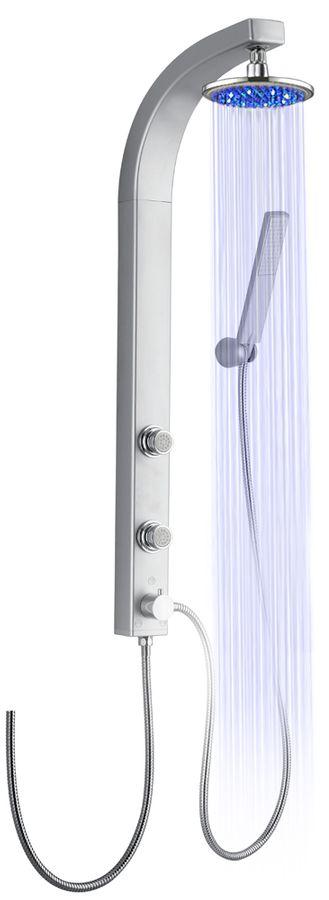 Silbeners LED Duschpaneel Duschsäule mit Massagedüsen von Sanlingo