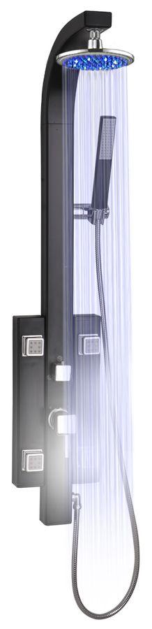 LED Aluminium Duschpaneel Duschsäule Duschset mit Massagedüsen in SCHWARZ von Sanlingo
