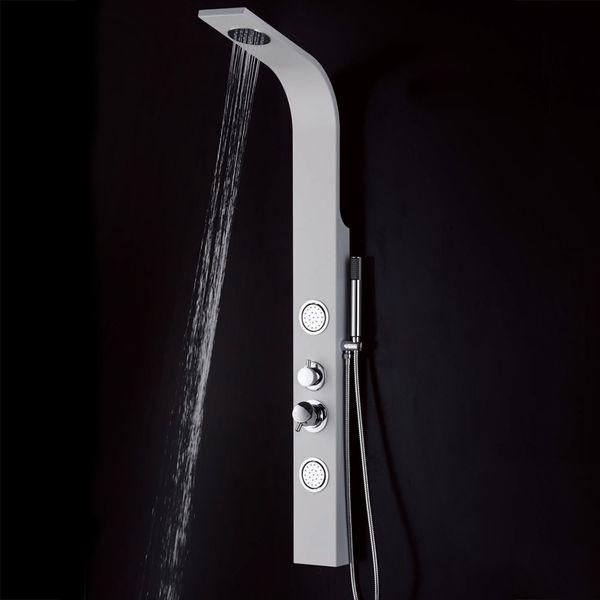 Aluminium Duschpaneel Komplettdusche Duschsäule Massage Regendusche Sanlingo Weiß  – Bild 3