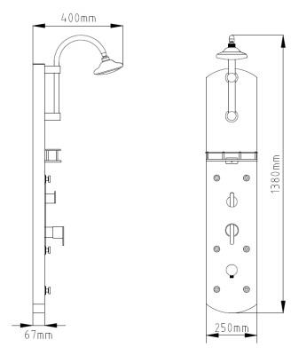 Aluminium Duschpaneel Duschsäule mit 6 Massagedüsen von Sanlingo – Bild 2