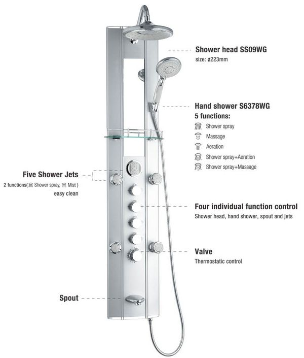 Aluminium Shower Panel Tower with Thermostat, massage jets, mirror, etc... from Sanlingo – Bild 2