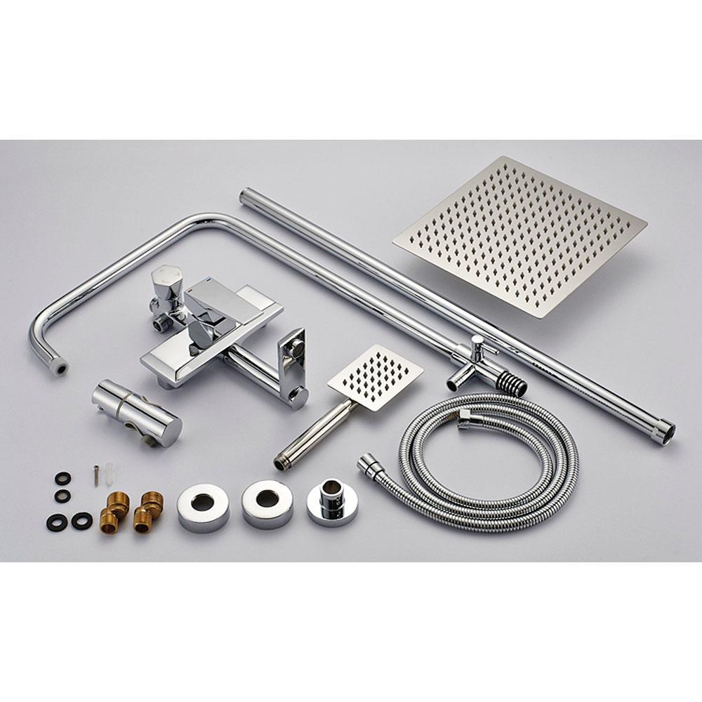 shower kit set bar riser rail bar adjustable rain shower head holder bath filler chrome sanlingo