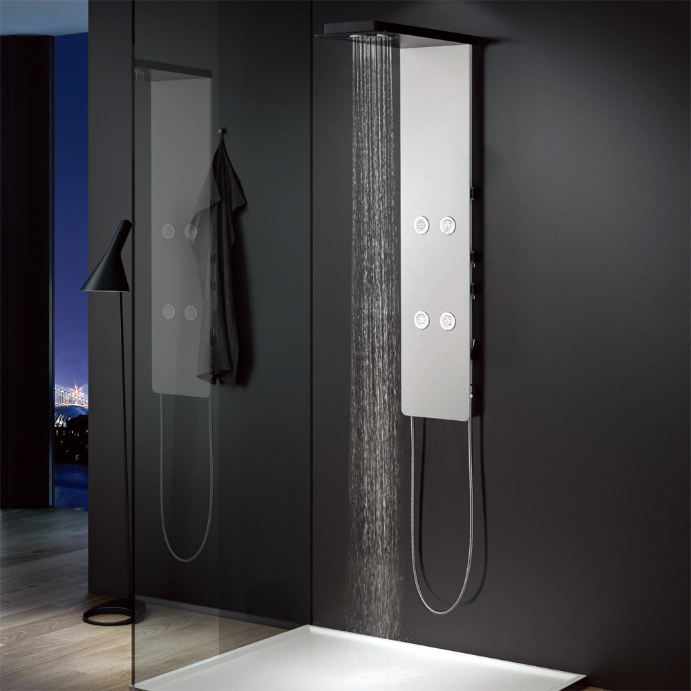 Colonna Doccia Easy Shower.Sanlingo Aluminium Shower Panel Tower Rain Shower Body Massage Jets White Black