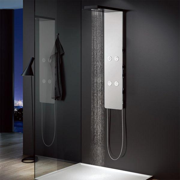 Sanlingo Aluminium Shower Panel Tower Rain Shower Body Massage Jets White Black – Bild 3