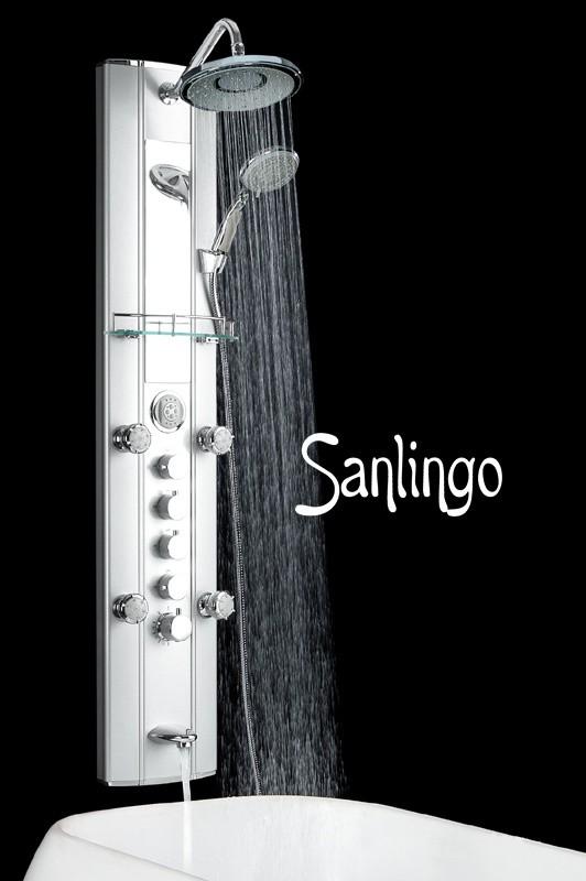 Aluminium Duschpaneel mit Massagedüsen, Wanneneinlauf, Thermostat von Sanlingo – Bild 1