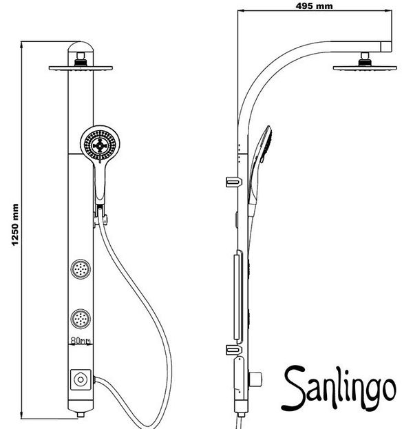 Silver Sanlingo Shower Panel wih Body  Jets from Sanlingo – Bild 2