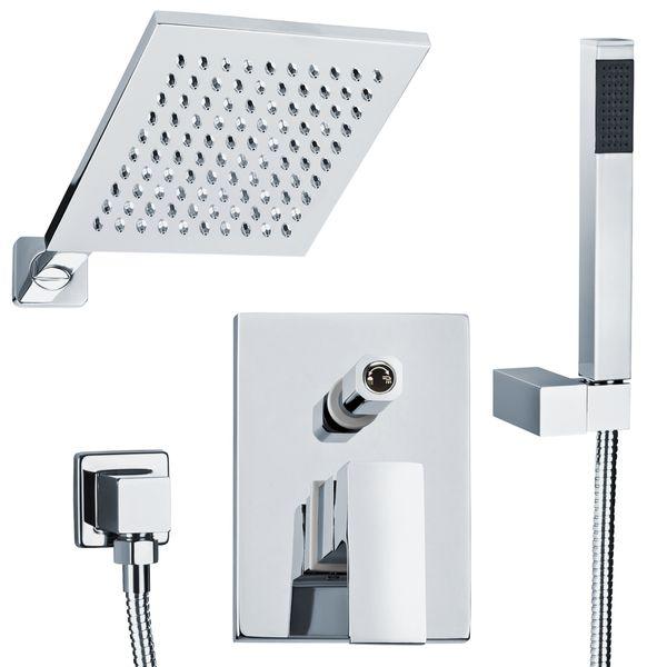 Komplett Unterputz Duschset Duschsystem Eckig 2 Wege Chrom Regendusche Sanlingo – Bild 2