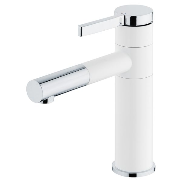 Bathroom Wash Basin Sink Monoblock Mono Tap Mixer White Chrome Swivel Spout Sanlingo – Bild 1