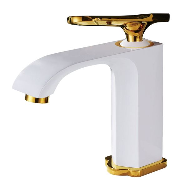 Bath Mono Tap Mixer Sink White Gold Sanlingo – Bild 2