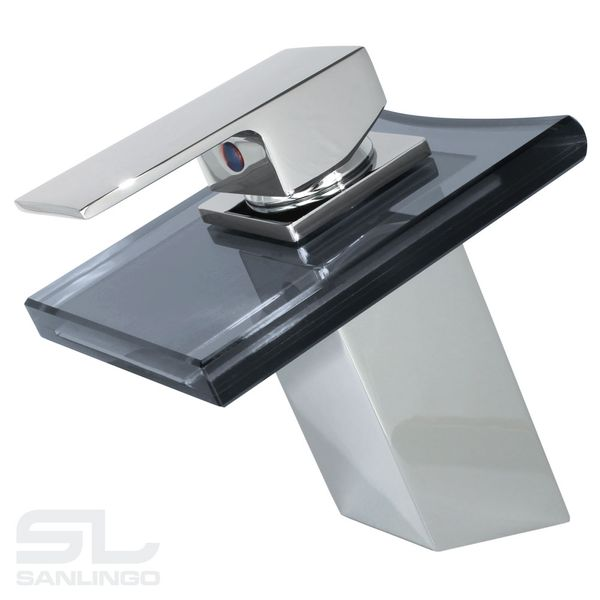 Modern Bathroom Waterfall Mono Tap Mixer Black Glass Chrome Wash Basin Sanlingo – Bild 2