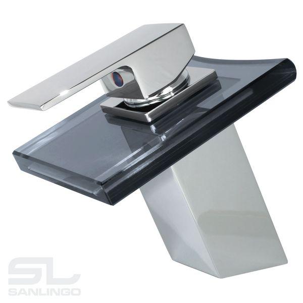 Wasserfall Einhebel Waschbecken Waschtischarmatur Glas Armatur Wasserhahn Einhebelmischer Chrom Schwarz Sanlingo – Bild 2