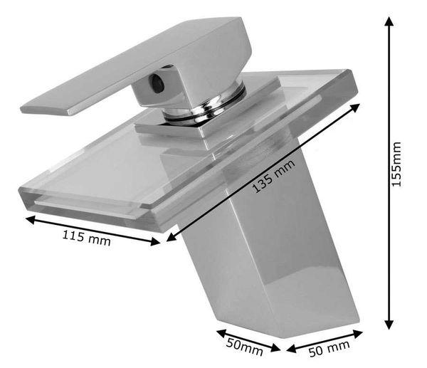 Modern Bathroom Waterfall Mono Tap Mixer Chrome Blue Glass Wash Basin Sanlingo – Bild 3