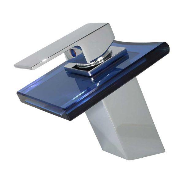 Wasserfall Einhebel Waschbecken Waschtischarmatur Glas Armatur Wasserhahn Einhebelmischer Chrom Blau Sanlingo – Bild 1
