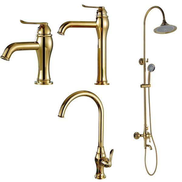 Waschbecken Waschtischarmatur Armatur Wasserhahn Mischbatterie Einhebelmischer Gold Sanlingo Serie TULL – Bild 4