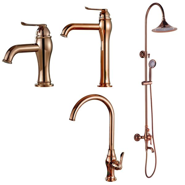 Design Bathroom Basin Single Lever Tap Mixer Rose Gold Plated Sanlingo KARA Series – Bild 4