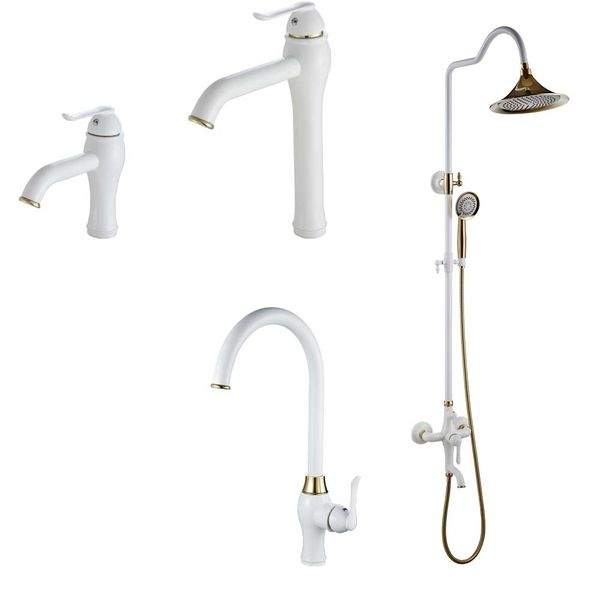 Shower Kit Set Bar Riser Rail Bar Adjustable Rain Shower Head Holder Bath Filler White Gold Sanlingo MULI Series – Bild 4