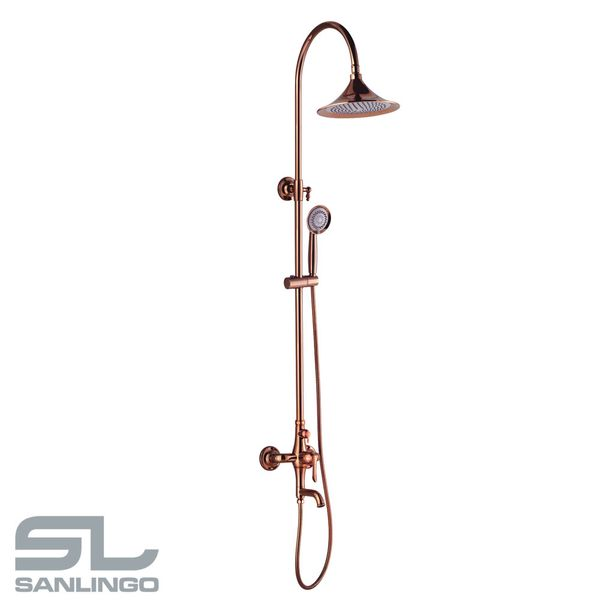 Shower Kit Set Bar Riser Rail Bar Adjustable Rain Shower Head Holder Bath Filler Rose Gold Sanlingo KARA Series – Bild 2