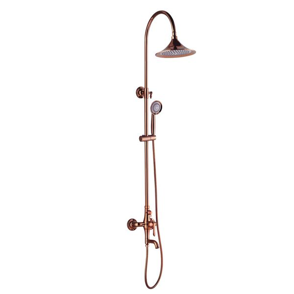 Shower Kit Set Bar Riser Rail Bar Adjustable Rain Shower Head Holder Bath Filler Rose Gold Sanlingo KARA Series – Bild 1