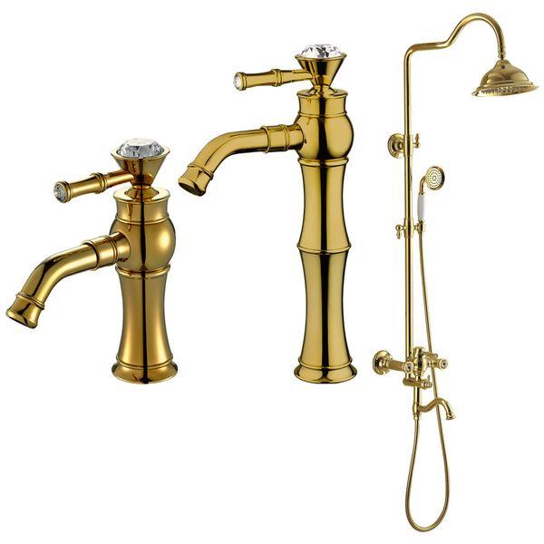 Retro Waschbecken Waschtischarmatur Armatur Wasserhahn Mischbatterie Einhebelmischer Glaskristall Gold Sanlingo Serie FULA – Bild 3
