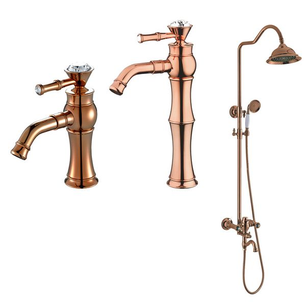 Shower Kit Set Bar Riser Rail Bar Adjustable Rain Shower Head Holder Bath Filler Rose Gold Glass Crystal Sanlingo RAKA Series – Bild 4