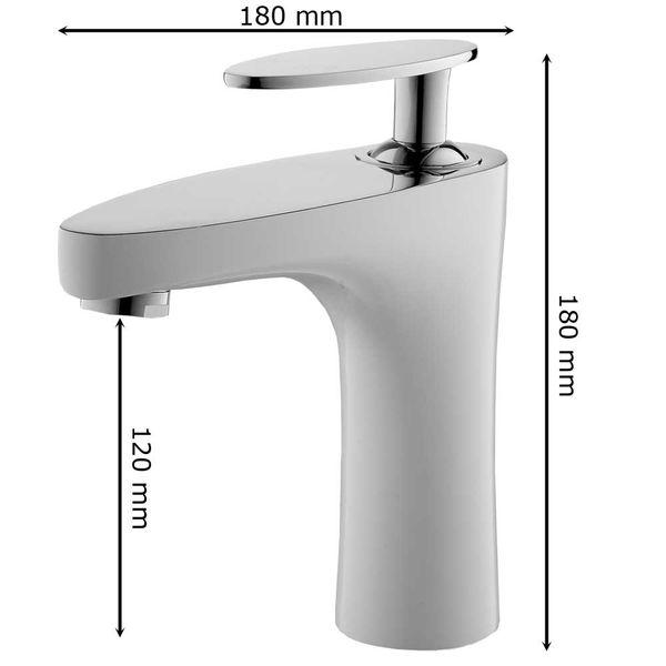 Waschbecken Waschtischarmatur Armatur Wasserhahn Mischbatterie Einhebelmischer Weiss Chrom Sanlingo – Bild 3