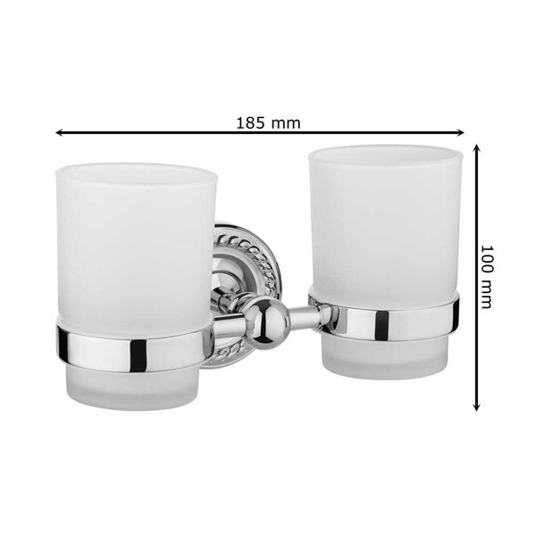 Bathroom Two Toothbrush Mug Double Tumbler Beaker Holder Storage Keeping Frosted Glass Gold Sanlingo LAPA Series – Bild 3