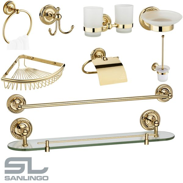 Design Luxury Towel Rail Massive Wall Mounting Bathroom Gold LAPA Series Sanlingo – Bild 5