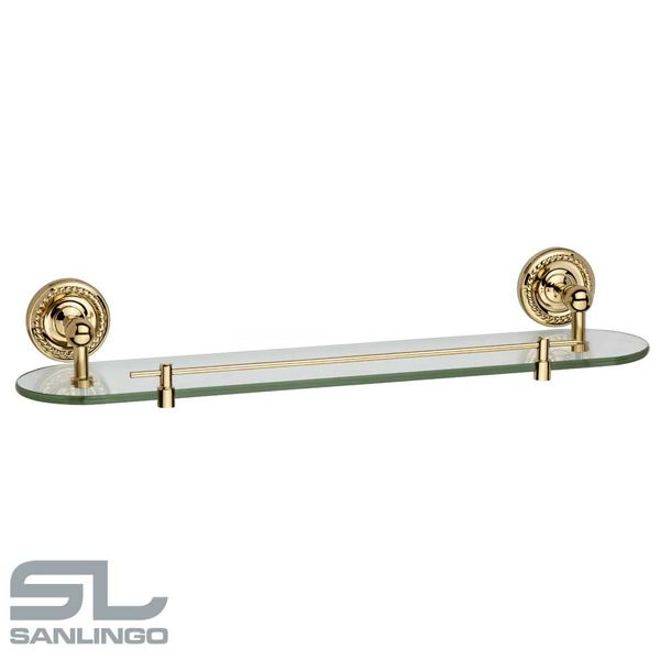 Glass Wall Shelf Wall Mounting Bathroom Clear Glass Gold Sanlingo Series LAPA – Bild 2