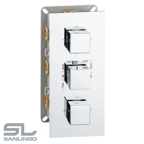 Sanlingo Dusche Unterputz Vier Wege Mischbatterie Wannenarmatur Armatur Thermostat Chrom – Bild 4