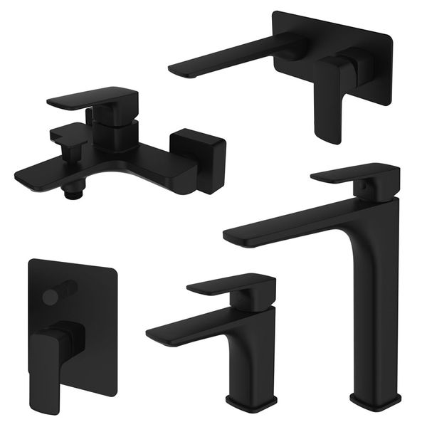 Modern Concealed Flush Wall Mount Wash Basin Sink Mono Tap Mixer Black Sanlingo KULS Series – Bild 4