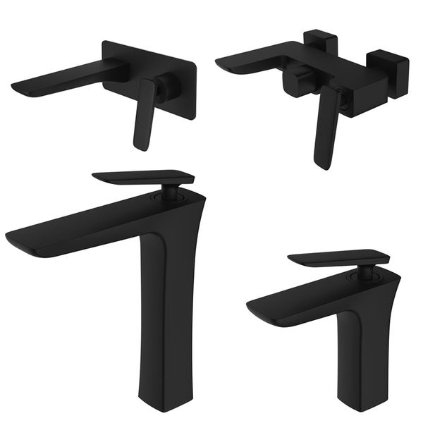 Modern Bath Bathtub Mono Tap Mixer Filler Black LUDO Series Sanlingo – Bild 4