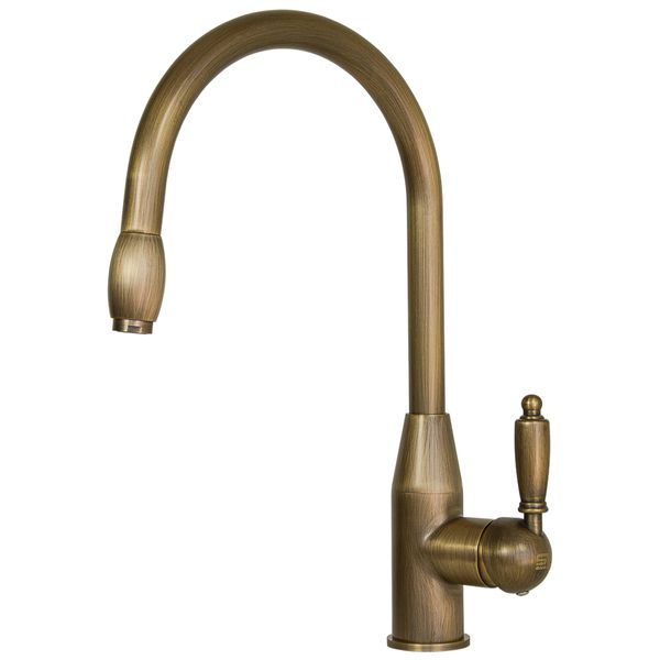 Retro Nostalgia Pullout Hose Kitchen Sink Mixer Antique Brass Sanlingo – Bild 2