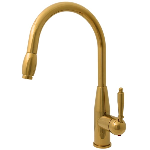 Kitchen Mixer Tap Sink Single lever Gold Extendible Hose Rotatable Sanlingo – Bild 1