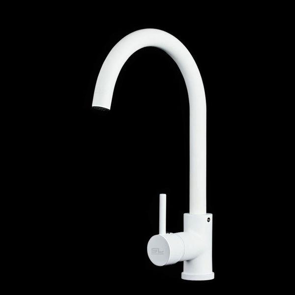 Modern Küchen Spülbecken Einhebel Mischbatterie Armatur Wasserhahn Weiß Sanlingo – Bild 1