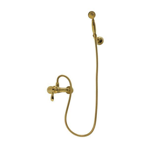 Nostalgie Retro Dusche Set Duschset Einhebel Handbrause Armatur Gold Sanlingo  – Bild 1