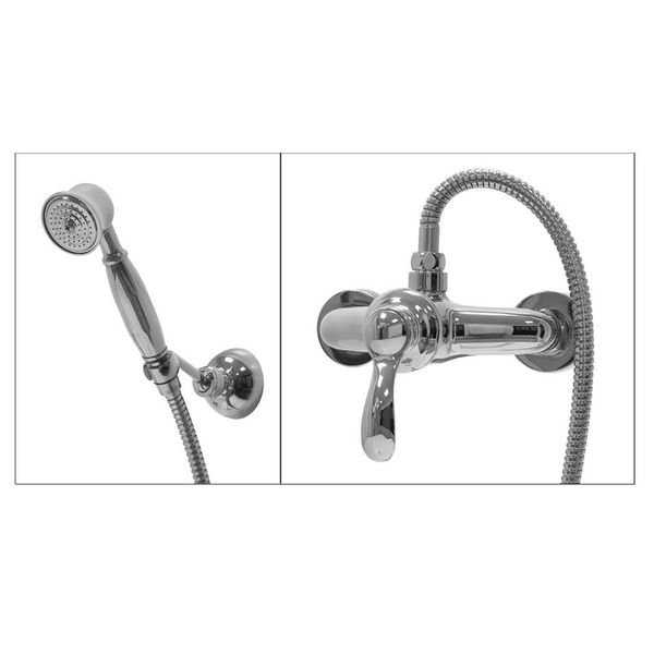Bath Shower Retro Set Single Lever Water Tap Hand Shower Chrome Sanlingo – Bild 2