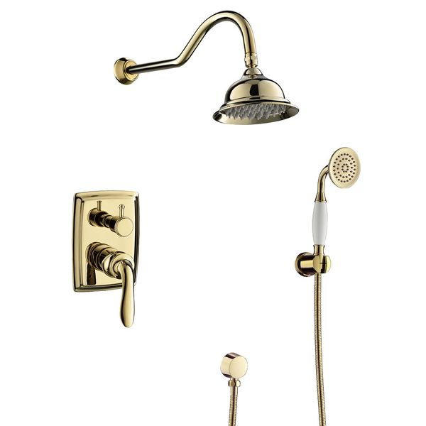 Sanlingo Retro Bath Concealed Complete Shower Set Tap Arm Rain Hand Gold