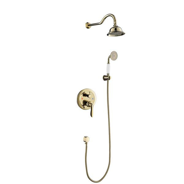 Retro Bath Concealed Complete Shower Set Tap Arm Rain Shower Hand Gold Sanlingo – Bild 1