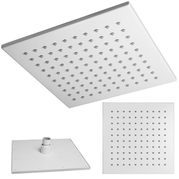 Ultra Thin Overhead Rain Rainfall Swivel Shower Head White Square Sanlingo – Bild 2