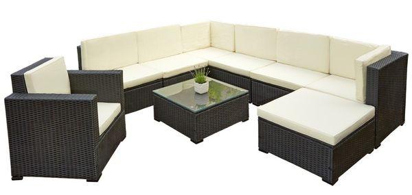 Poly Rattan Sitzgruppe Sitzgarnitur Gartenmöbel Lounge Sofa Garten mit Tisch Schwarz Lagento