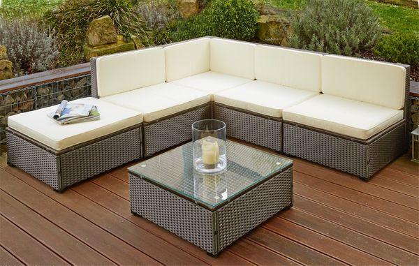 Poly Rattan Sitzgruppe Sitzgarnitur Gartenmöbel Sofa Lounge Garten mit Tisch Braun Lagento